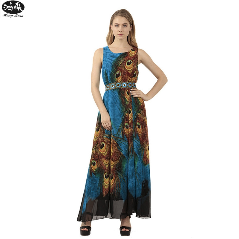 New Women Sleeveless Chiffon Spandex Dress Peacock Feather Print Sash 3XL Plus Size Clothing Casual Loose Swing Tunic Long Dress
