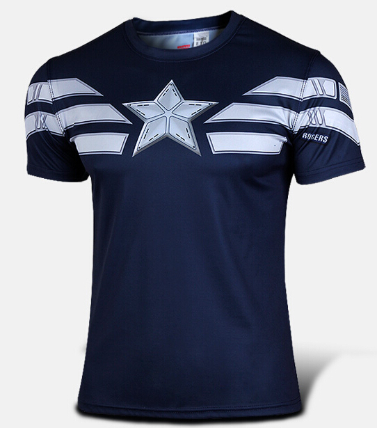 Hot Superhero Captain America T-Shirt Winter Soldier Mens Tees Shirt Top Short Sleeve Crew Neck  -  Online Store 939240 store