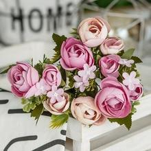 10 Head/bouquet Artificial Silk Flowers Simulation Rose Small Tea Buds Garden Decoration Floral Fake