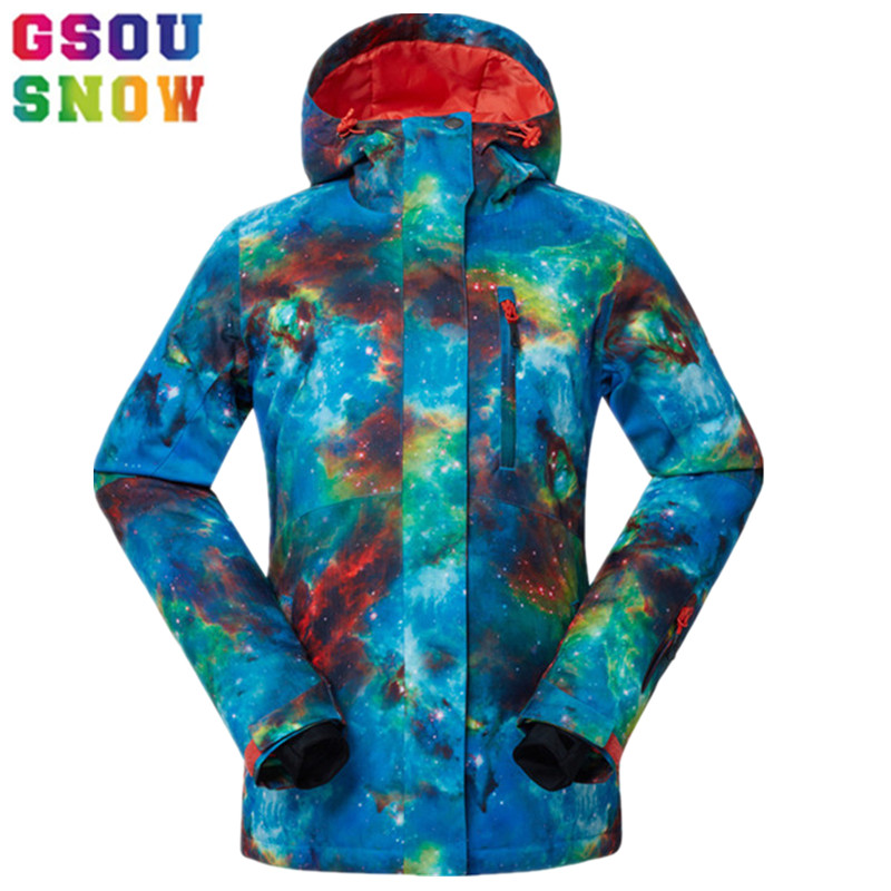 Gsou Snow Brand Winter Ski Jacket Women Snowboard Jacket Waterproof Plus Size Outdoor Skiing Snowboarding Snow Clothes Female gsou snow ski jacket women snowboard jacket waterproof ski suit winter skiing snowboarding outdoor sports jacket gs419 001