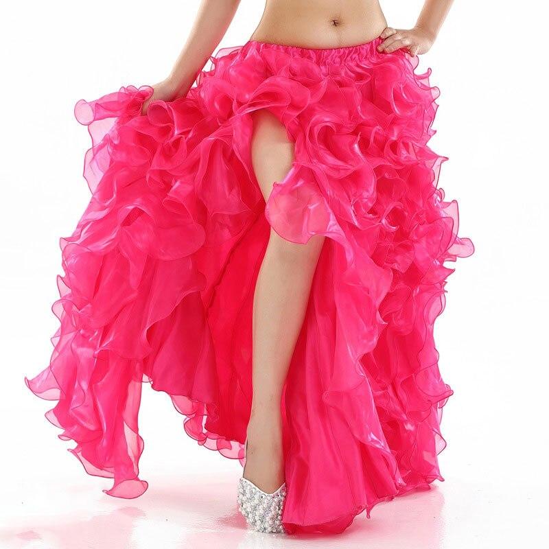Belly Dance Skirt High Split Chiffon Tutu Skirt For Women Oriental Dance Costume Skirts Bellydance Skirts Long Circle Skirts