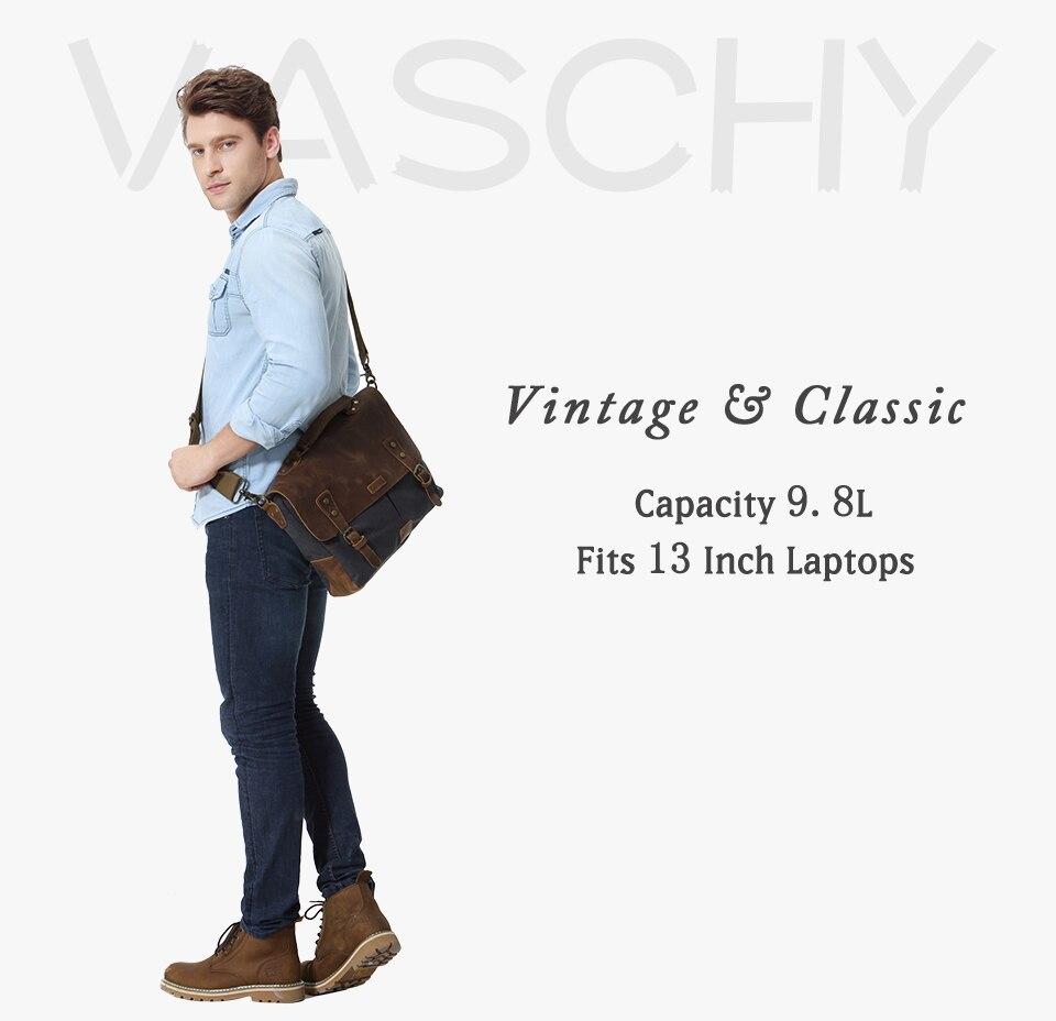 VASCHY Messenger Bag Men Leather Genuine Leather Canvas 14inch Laptop Briefcase Crossbody Satchel Bag for Men