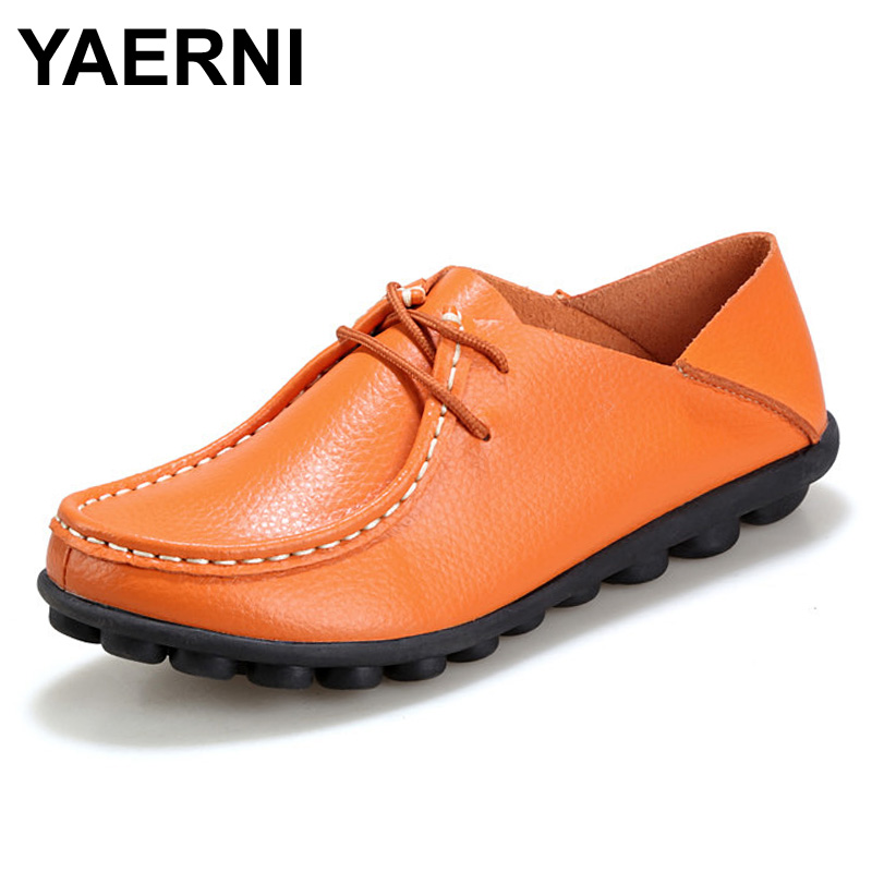 YAERNIShoes Woman 2017 Genuine Leather Women Shoes Flats 8 Colors Loafers Slip On Women's Flat Shoes Moccasins Plus Size 35-41 цена и фото