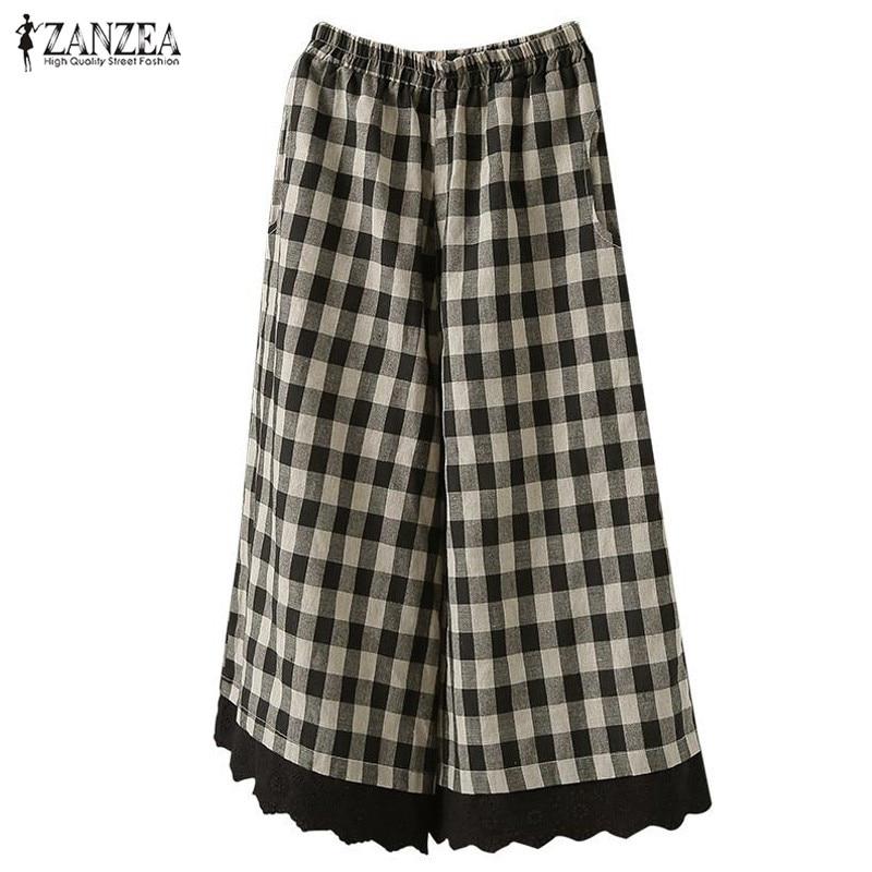ZANZEA 2019 Summer Women Plaid   Wide     Leg     Pants   Cotton Linen Long Trousers Patchwork Lace Pantalons Femme Streetwear Plus Size 5XL