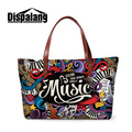 Dispalang 3D printing music drawing women's summer beach bags high quality neoprene ladies shoulder handbags totes bag wholesale