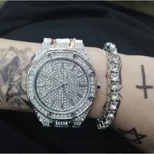 Роскошные мужские часы + браслеты, Модный комплект со стразами, с кубинской цепочкой Braclete, золотой, серебряный цвет, с кристаллами, с коробкой, 2019