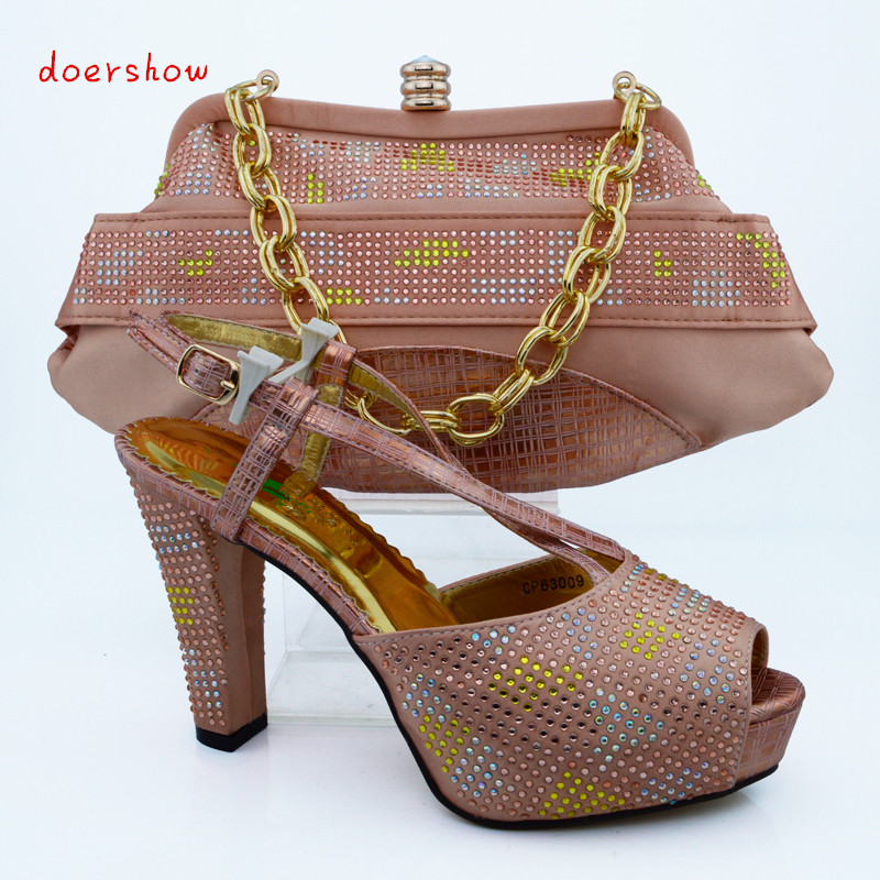 doershow Beautiful peach Italian Shoes With Matching Bags ...