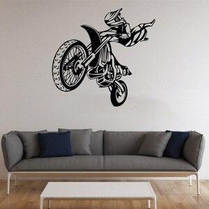 Image 1 - Autocollants muraux en vinyle 2CE9, autocollants de performance de Motocross, décoration murale en vinyle, sports extrêmes pour jeunes, dortoir, chambre à coucher