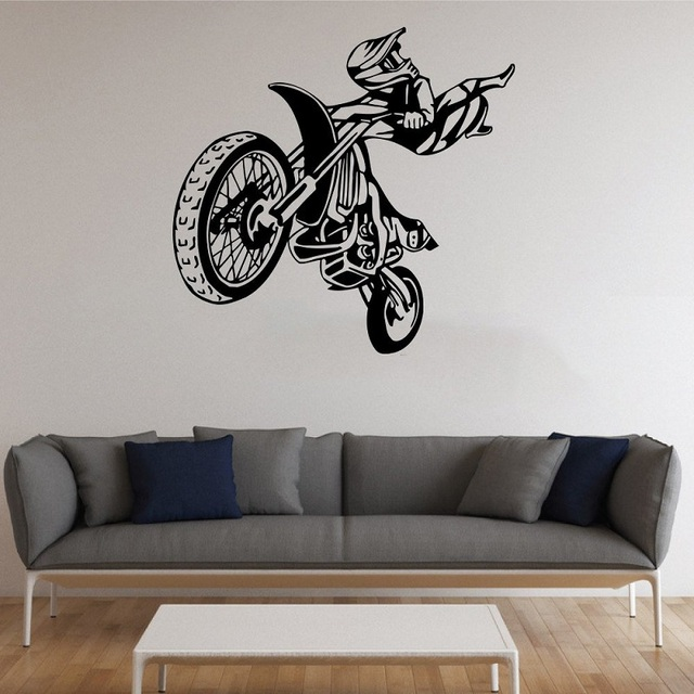 Motocross competitive performance vinyl wall stickers extreme sports youth dormitory bedroom home decoration wall decal 2CE9