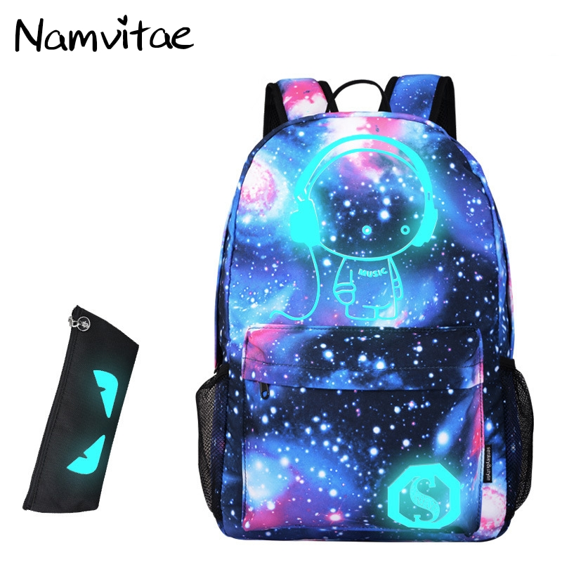 Namvitae Teenage Cartoon School Backpack Luminous Printing Bags for Boys and Girls Large Capacity Casual Student Backpacks Bag