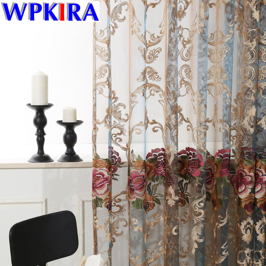 پرده گلدوزی آبی رنگ گلدان سفید گل رز توری گلدان توری پنجره ای برای تزیین اتاق نشیمن پرده سالن پرده WP006 * 5-30