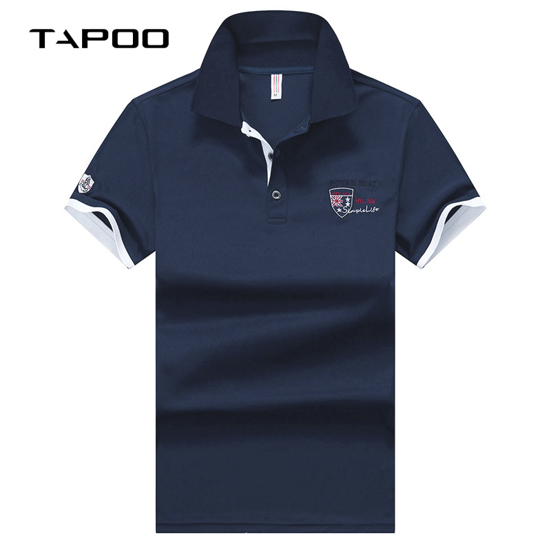 TAPOO England style Men   Polo   Shirt Summer Short Sleeve   Polos   Shirt Mens Camisa   Polo   Homme 95% Mercerized Cotton