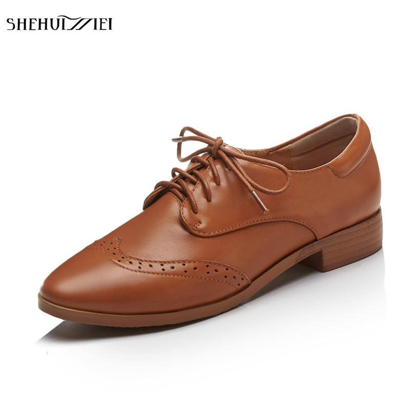 SHEHUIMEI Women Flats Genuine Leather Oxford Shoes for Women Big Size Vintage Flat Shoes Round Toe Handmade Woman Creepers 2018 women flats oxford shoes big size flat genuine leath vintage shoes round toe handmade black 2017 oxfords shoes for women
