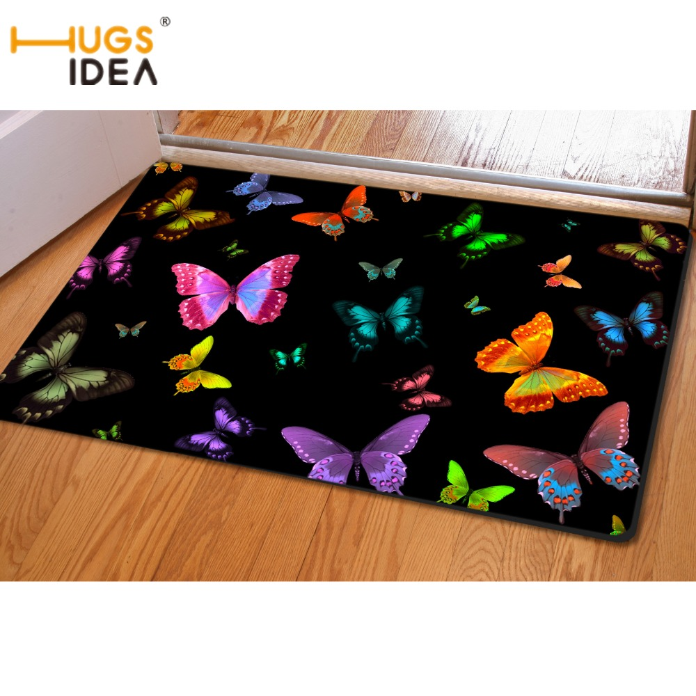 HUGSIDEA Fashion Butterfly Printing Home Decorative Area Rugs For Bedroom Living Room Non-slip Door Floor Mat Carpets Alfombras