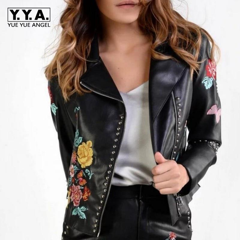 Embroidery Floral Jacket Rock Punk Rivet Motorcycle Biker PU Leather Women Coat