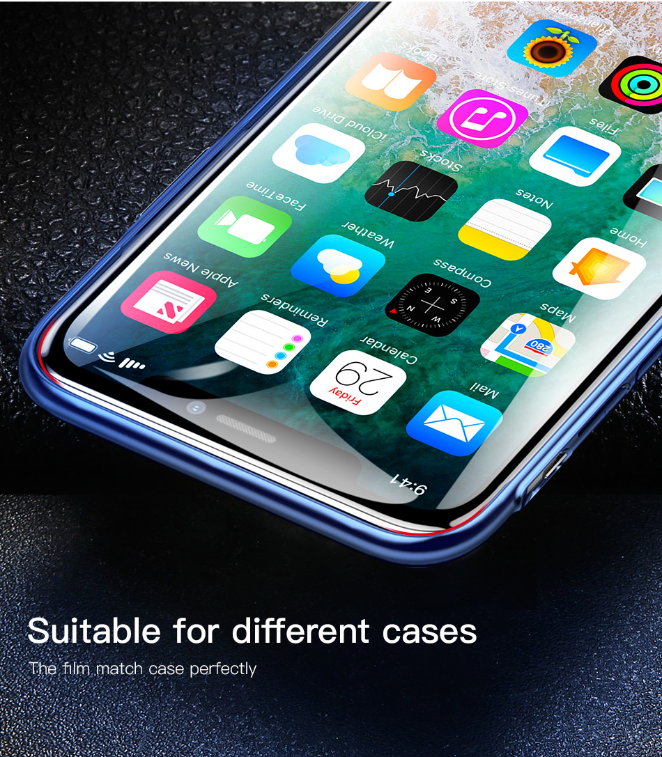 Baseus 3D Full Screen Protector For iPhone X Tempered Glass Ultra Thin Full Coverage Protective Glass For iPhone X Glass Film
