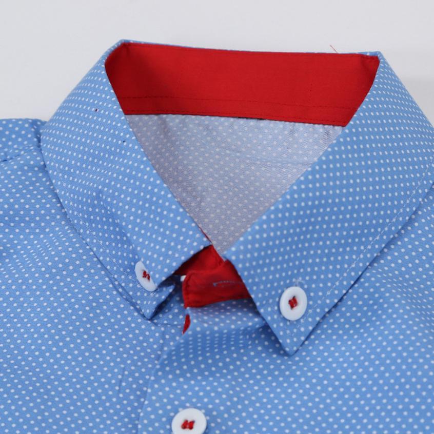 Mens Casual Short Sleeve Shirt Business Slim Shirt Dot Print Blouse Top men shirt short sleeve cotton #GH30