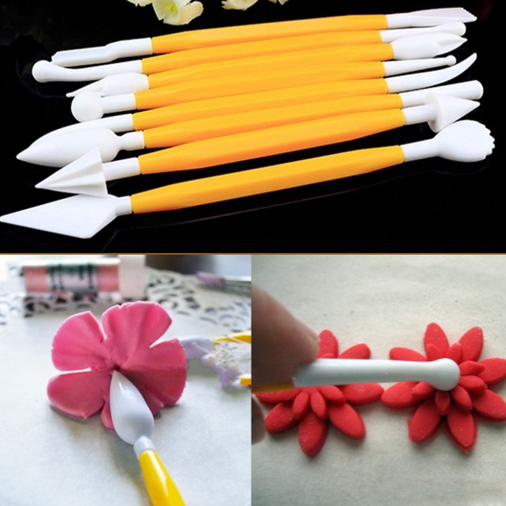 8pcs/Lot 16 Patterns Fondant Cake Decorating Flower Sugar Craft Modelling Tools Clay Fondant Cake Decorating Tools