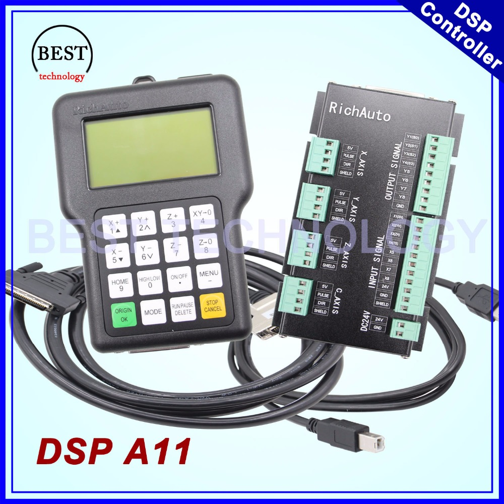 Free Shipping !! RichAuto DSP A11 CNC DSP controller original A11 3 axes A11E English Version 3 axis For CNC router machine 1pc new cnc wireless channel for cnc router cnc machine dsp controller 0501 dsp handle english version