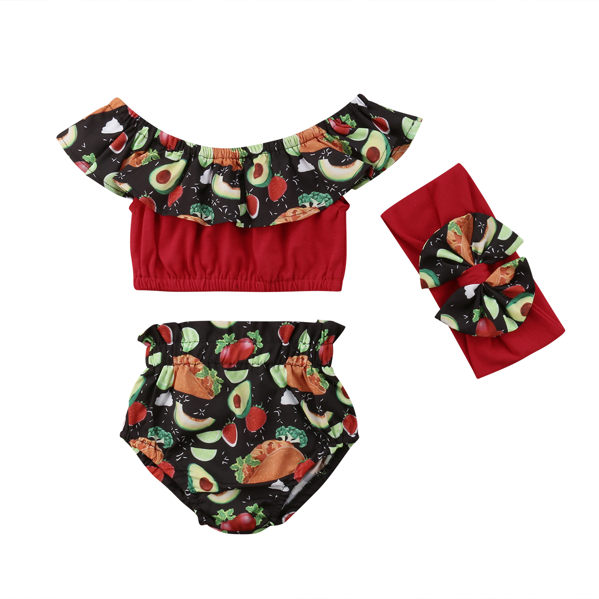 Kid Baby Girls Summer Clothing Set Fruit Print Off shoulder Tops + shorts 2PCS outfits Children Clothes