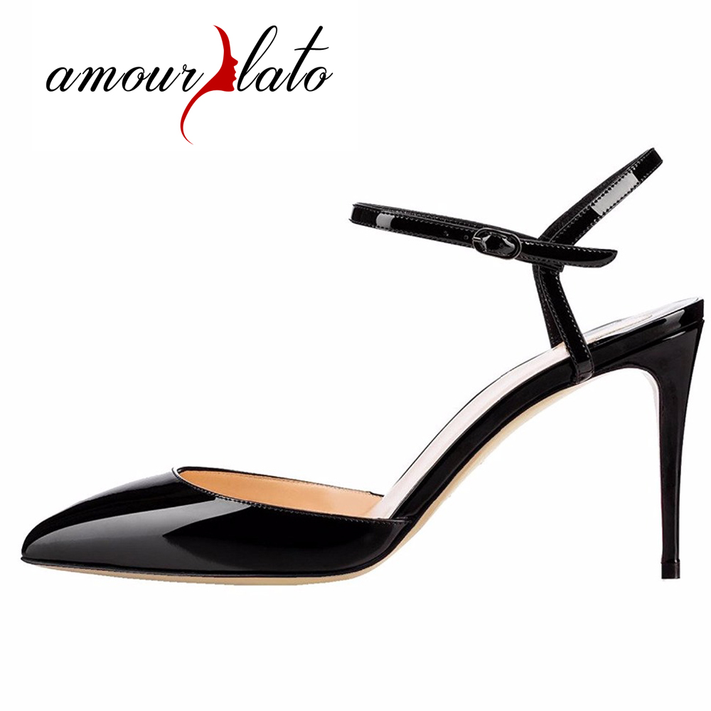 Amourplato Women's 100mm High Heel Ankle Strap Sandals Pointed Toe Patent Party Wedding Dress Shoes Buckle Closure amourplato womens handmade pointed toe ankle wrap flats bridesmaid ballerinas ankle strap flats shoes with buckle size5 13