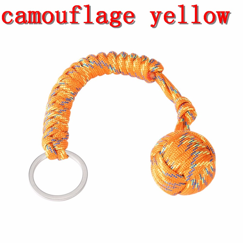 Outdoor Security protecting Monkey Fist Self Defense Tool Lanyard Survival Multifunctional Key Chain For Girl Free Shipping