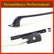 4/4 NEW French Carbon Fiber Double Bass Bow PERNAMBUCO Performance! Unbleached Mongolia Horse Hair and High Density Ebony Frog
