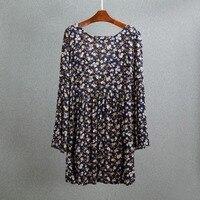 Descuento elegante ahueca hacia fuera pequeña flor imprimir vestido mujeres con manga larga moda Otoño Slim vestidos pullover Vestidos
