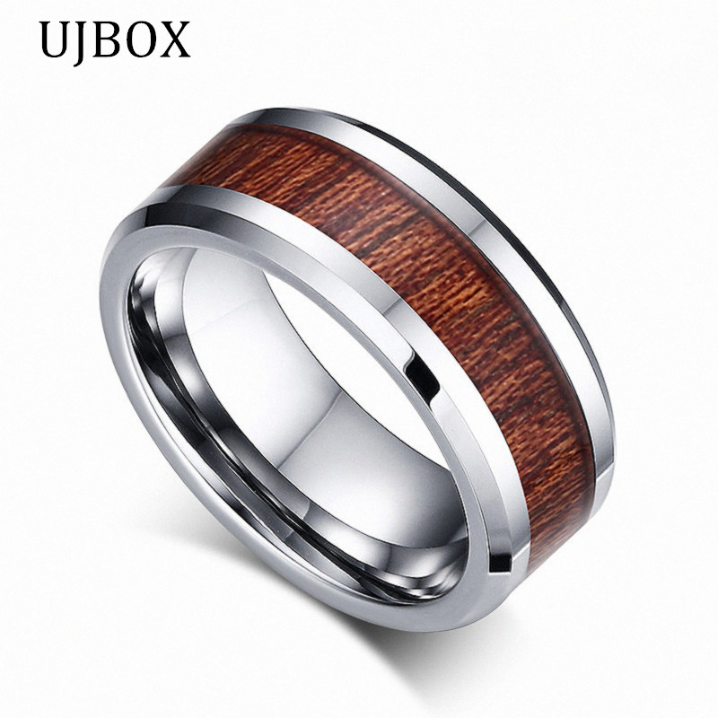 ujbox 8mm wide men tungsten carbide ring designer wedding band for men engagement party jewelry us