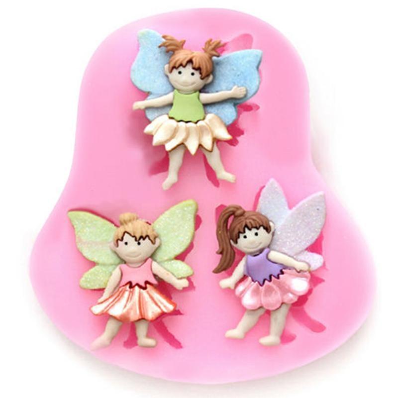1Pcs Fairy Figure Elf Angel Chocolate Mold Silicone Fondant Cake Decorating Tools Happy Birthday Decoration Fondant Tools FM650