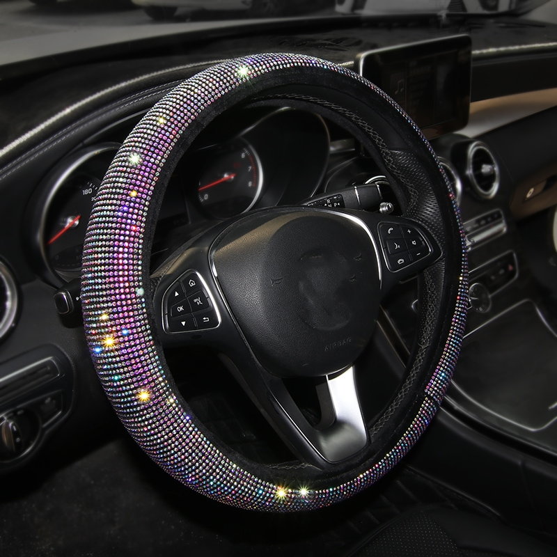 2019 New Luxury Crystal Car Steering Wheel Covers for Women Girl Leather Rhinestone covered Steering-Wheel Interior Accessories