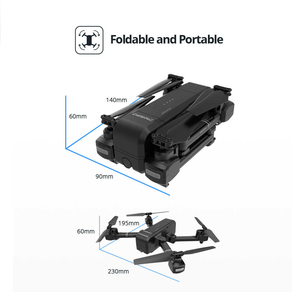 DEERC DE25 FPV Opvouwbare Arm RC Drone Selfie 1080 p Camera 90 Verstelbare Tapfly 18 Min Auto Hover Hand Gebaar GPS RTH Helicopter