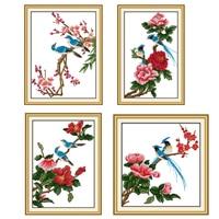 Lotus Patterns Counted Cross Stitch 11CT Printed 14CT Cross Stitch Sets Chinese Flower Cross Stitch Kits