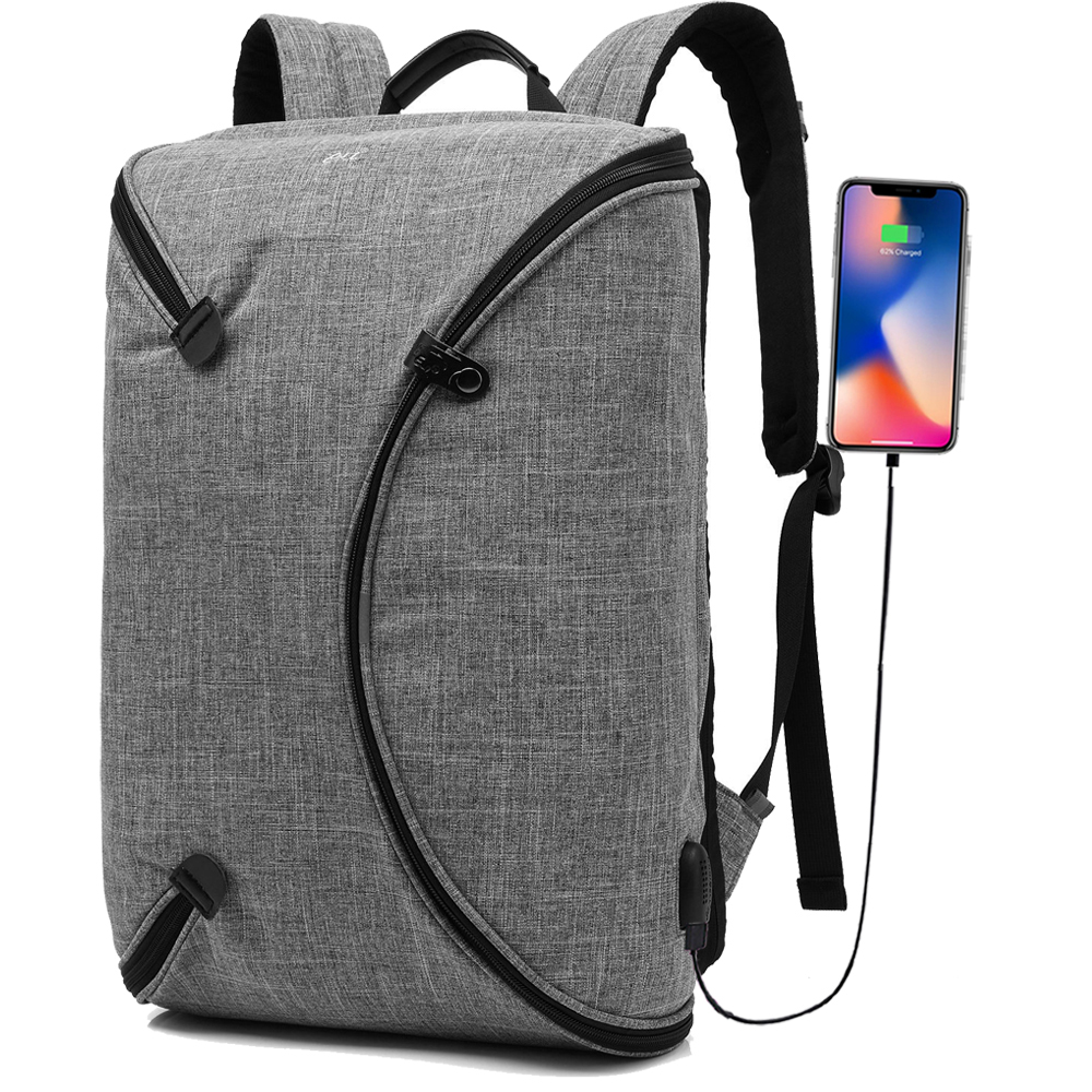 CoolBELL 15.6 Inch Laptop Backpack Bag With USB Charging Port / Personalized Foldable Travel Rucksack / Water-resistant Knapsack
