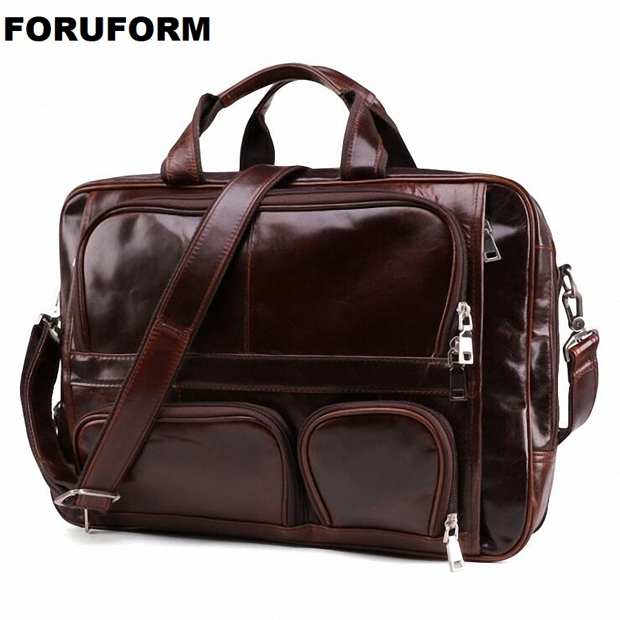Genuine Leather Men 15 Inch Laptop Bag Briefcase Fashion Men's Business Bags Casual Leather Messenger Bag For Men Totes LI-2271