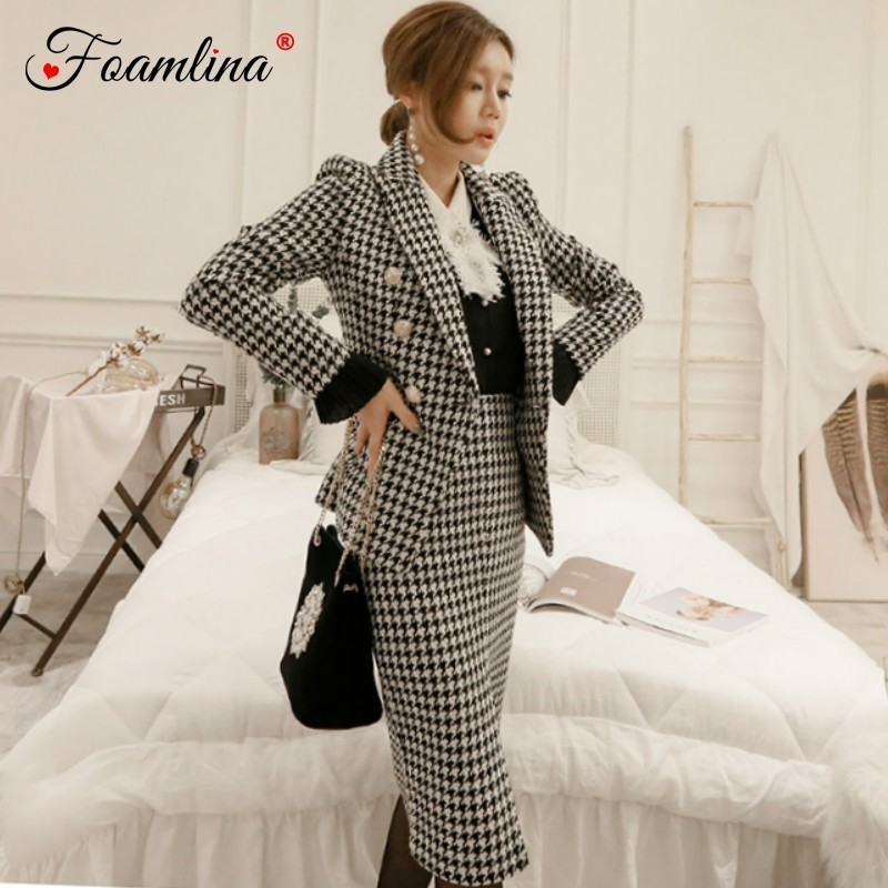 Foamlina Office Ladies Plaid Two Pieces Work Suits Notched Collar Long Sleeve Blazer Coat + High Waist Midi Pencil Skirt Sets