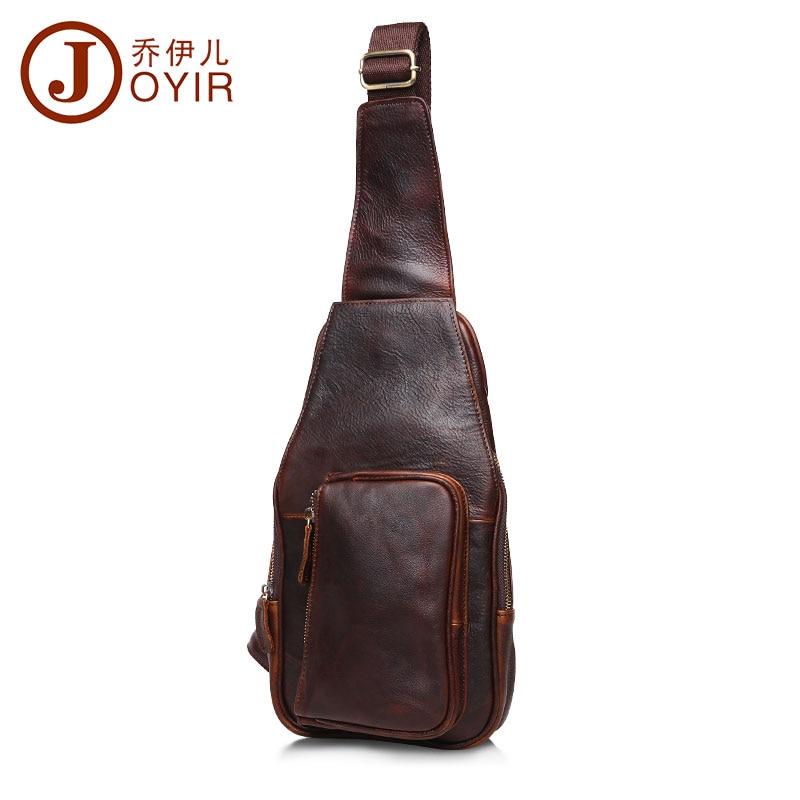 ФОТО JOYIR Vintage Chest Pack Genuine Cowhide Leather crossbody chest bag small shoulder bag for male pack belt bag men bag B512