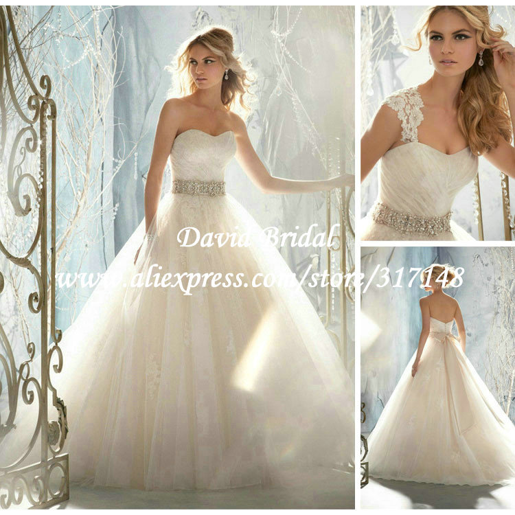 Romantic Puffy Sweetheart Ball Gown Lace Wedding Dresses With Removable Cap Sleeve Keyhole Back Beaded Champagne Sash EF1775 In From