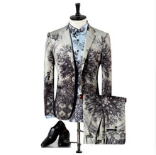 Light Grey Slim Fit Suits For Men Peacock Parrot Pattern Stage Wear Vintage Wedding Mens Skinny Suit M-3XL (Blazer+Pants+Shirts)
