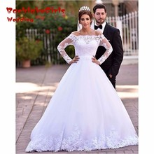 Whtie Arabic Long Sleeve 2017 Amazing Off Shoulder Appliqued Lace Tulle Bridal Gowns Free to Custom Made Wedding Dresses