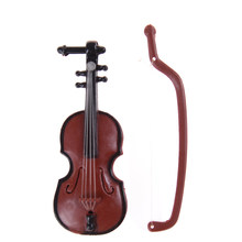 2018 New 1Pc Music Instrument DIY 1/12 Dolls House Wooden Violin with Case Stand Plastic Mini Violin Dollhouse Crafts(China)