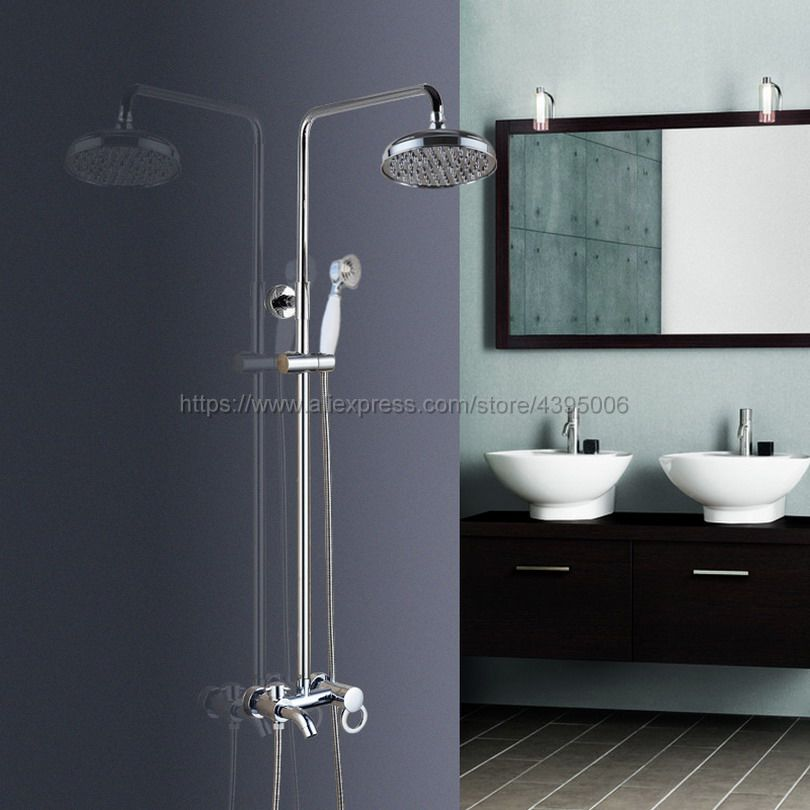 Bathroom 8 Rainfall Shower Faucet Set Single Handle Bath Shower Mixer Taps Wall Mounted with Handshower Bcy332 black bathroom 8 rainfall shower faucet set double handle brass bath shower mixer taps wall mounted with handshower brs705
