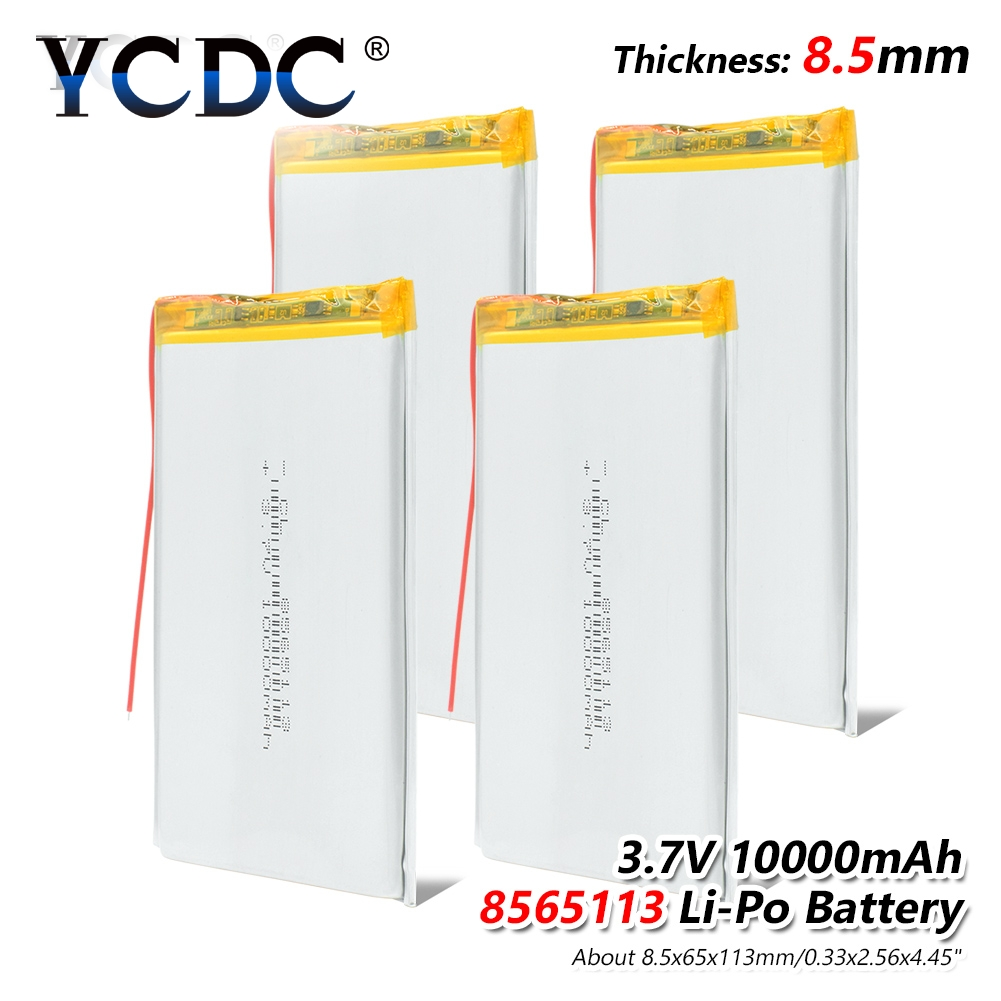 1/2/4Pcs 3.7V 10000mAh Li-Po Rechargeable Battery 8565113 For Tablet Backup Power , Monitoring & Medical Equipment Electric Toys