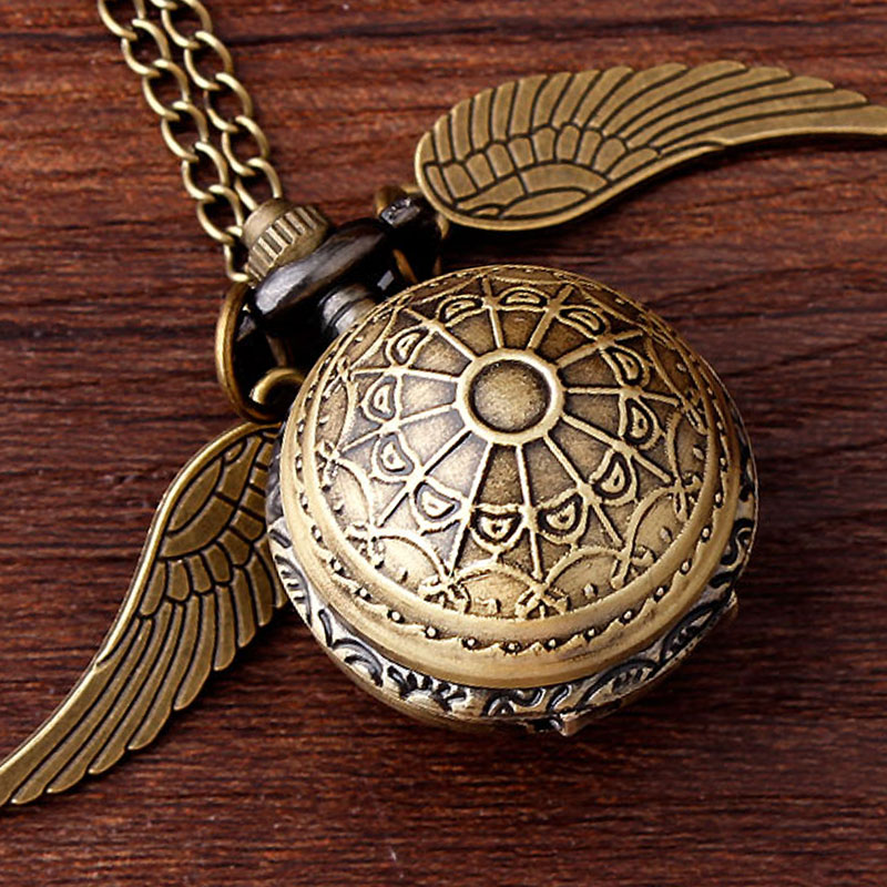 Antique Bronze Wings Harry Potter Quartz Pocket Watch With Chain Silver Golden Snitch Slytherin Pendant Women Men Harry Fan Gift unique smooth case pocket watch mechanical automatic watches with pendant chain necklace men women gift relogio de bolso
