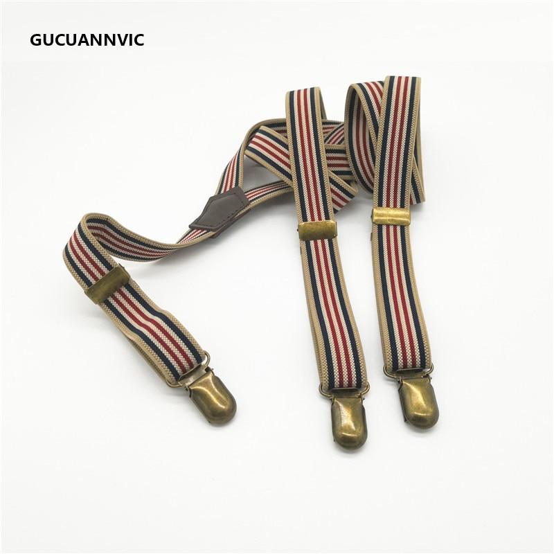 NEW Bronze 3 Clip Buckle Suspenders Elastic Strap 4 Stripes Retro Women's Suspenders Adjustable Braces Men And Women