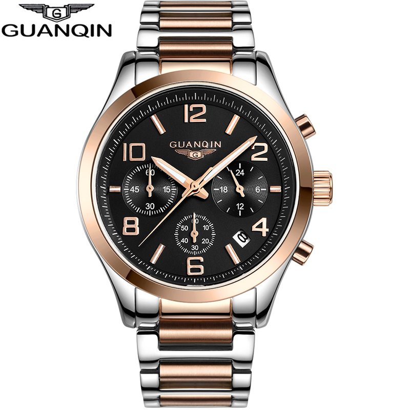 Watch men quartz top Luxury Brand GUANQIN watch stainless steel watches male casual watch waterproof luminous wristwatches man стоимость