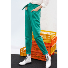 Toyouth Green Suit Pants High Waist Sashes Pockets Office Spring Autumn