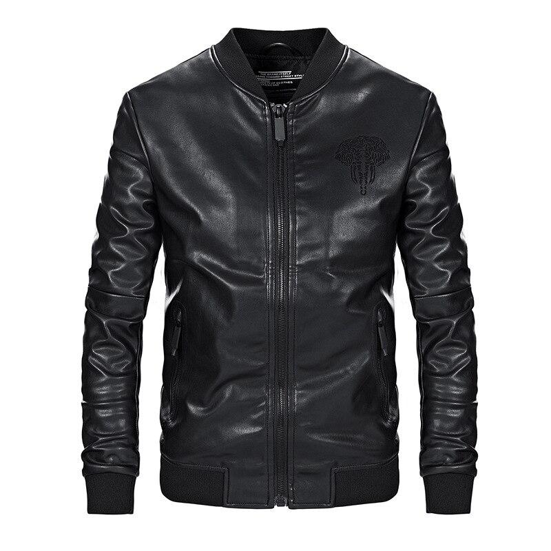 ZOZOWANG 2019 printemps été veste hommes en cuir veste rétro moto veste o-col haute qualité manteau PU cuir grande taille - 4