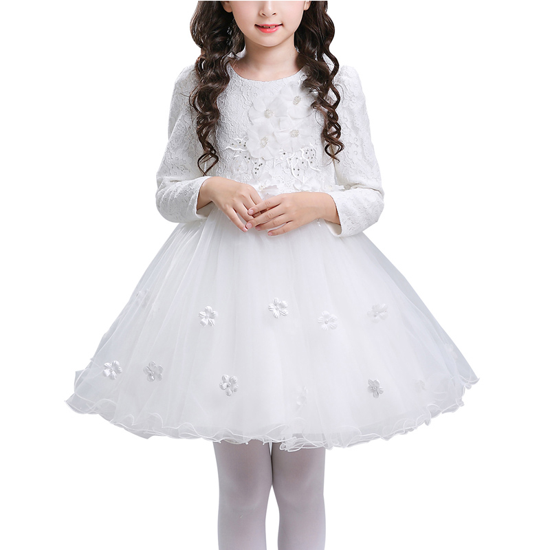 Girls Embroidered Flower Dress Kids Formal Party Ball Gown Princess Bridesmaid Wedding Dresses Children Long Sleeve Lace Costume kids princess dress baby diamond flower decoration lace tutu girls dresses children cute sweet party gown long sleeve clothing