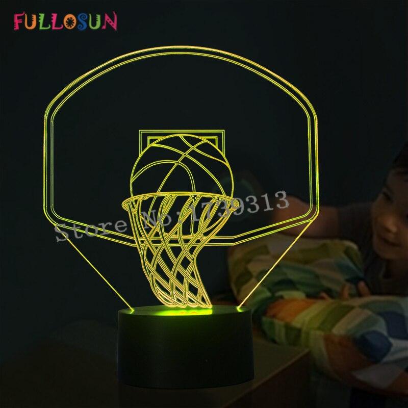 Прохладный basketall Форма 3D иллюзия светодиодный ночник детский подарок творческой 3D ночника как украшение дома ...
